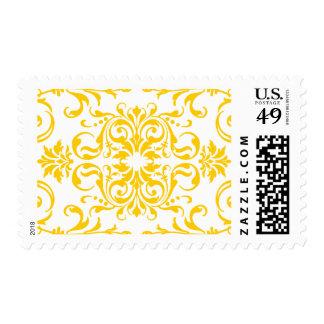 Yellow Damask Pattern Postage