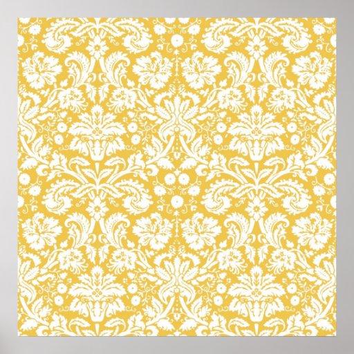 Yellow damask pattern poster