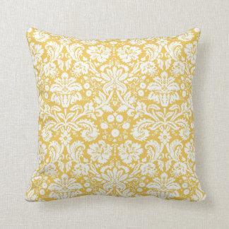 Yellow damask pattern throw pillow