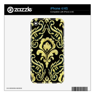 Yellow Damask Phone Skin Decals For The iPhone 4
