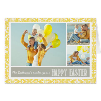 Yellow Damask | Photo Collage Happy Easter Card