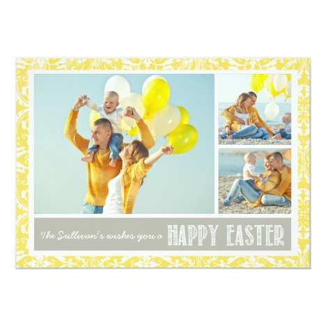 Yellow Damask   Photo Collage Happy Easter Card