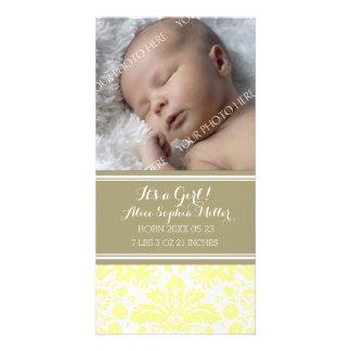 Yellow Damask Photo New Baby Birth Announcement
