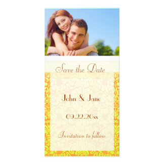 "Yellow Damask/photo  ""Save the Date"" Card"