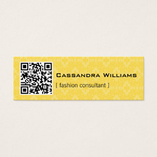 Yellow Damask QR CODE Mini Business Cards
