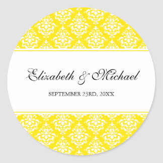 Yellow Damask Round Wedding Favor Label