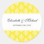 Yellow Damask Round Wedding Favor Label Classic Round Sticker