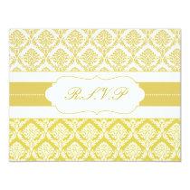 yellow damask  rsvp card