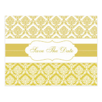 yellow damask save the date announcement postcard