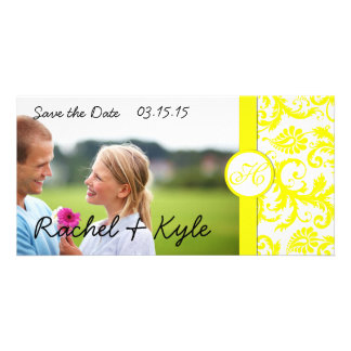 Yellow Damask Save the Date Card