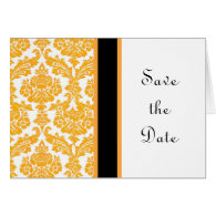 yellow damask save the date card greeting cards