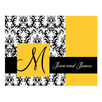 Yellow Damask Save the Date Wedding Announcement Postcard