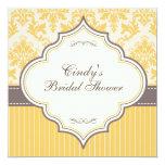 Yellow Damask & Stripe Bridal Shower Invitation