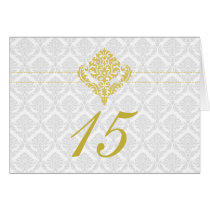 yellow damask table seating card