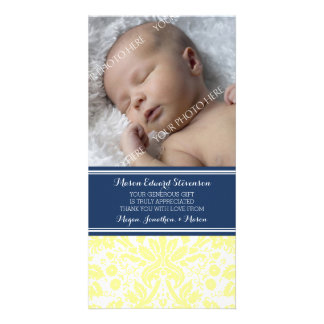 Yellow Damask Thank You Baby Shower Photo Cards