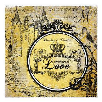 Yellow Damask Unconditional Love Wedding Invite