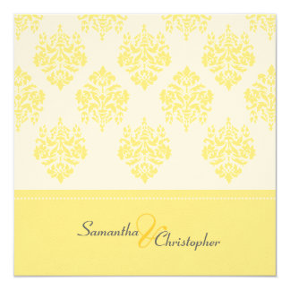 Yellow Damask/wedding invitations/felt stock Card