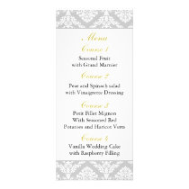 yellow damask Wedding menu