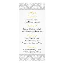 yellow damask Wedding menu