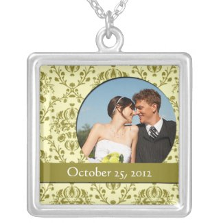 Yellow Damask Wedding Photo Pendant