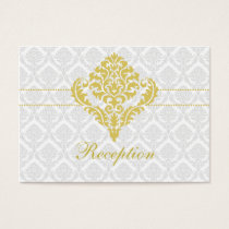 yellow damask wedding Reception Cards