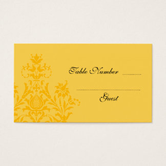 Yellow Damask Wedding Table Place Cards