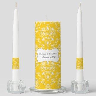 Yellow Damask Wedding Unity Candle Set