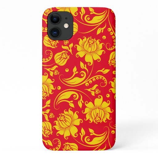Yellow damasks on red background iPhone 11 case