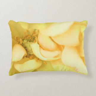 Yellow dancing rose petals accent pillow