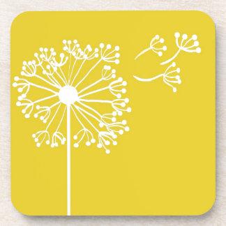 Yellow Dandelion Design Beverage Coaster