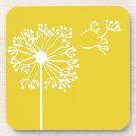 Yellow Dandelion Design Drink Coasters
