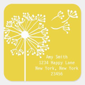 Yellow Dandelion Design Square Sticker