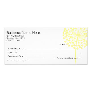 Yellow Dandelion Flower Gift Certificate Design 3