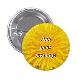 Yellow Dandelion Flower Photo Dot 0560 Button