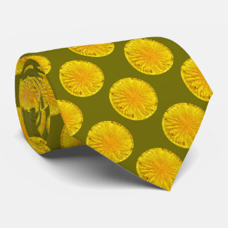 Yellow Dandelion Flower Photo Dot 0560 Tie