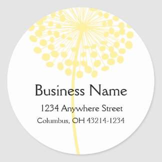 Yellow Dandelion Flower Round Address Labels Classic Round Sticker