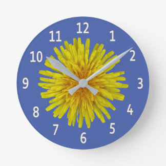 Yellow Dandelion Flower White Digits on any Color Round Clock