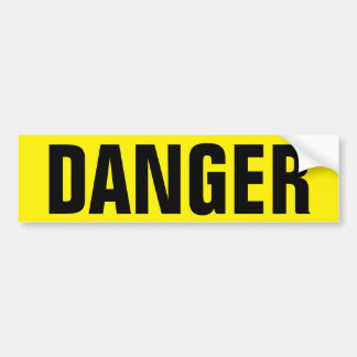 Yellow danger sign on durable vinyl stickers