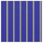 [ Thumbnail: Yellow & Dark Blue Colored Stripes/Lines Pattern Fabric ]