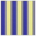 [ Thumbnail: Yellow & Dark Blue Striped/Lined Pattern Fabric ]