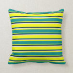 [ Thumbnail: Yellow, Dark Cyan, Black & Lavender Colored Lines Throw Pillow ]