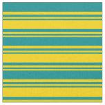 [ Thumbnail: Yellow & Dark Cyan Colored Pattern Fabric ]