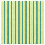 [ Thumbnail: Yellow & Dark Cyan Colored Pattern of Stripes Fabric ]