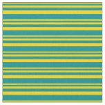 [ Thumbnail: Yellow & Dark Cyan Lined/Striped Pattern Fabric ]