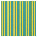 [ Thumbnail: Yellow & Dark Cyan Stripes/Lines Pattern Fabric ]