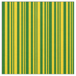 [ Thumbnail: Yellow & Dark Green Colored Lined/Striped Pattern Fabric ]