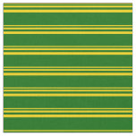 [ Thumbnail: Yellow & Dark Green Colored Pattern of Stripes Fabric ]