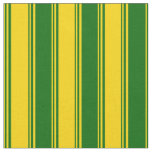 [ Thumbnail: Yellow & Dark Green Colored Stripes/Lines Pattern Fabric ]