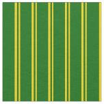 [ Thumbnail: Yellow & Dark Green Stripes Fabric ]
