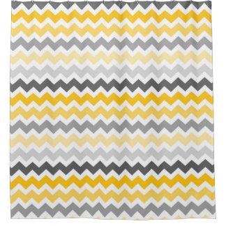 Yellow Dark Grey Chevron Stripes Shower Curtain